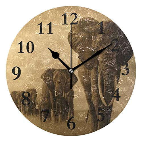 Dot Clock Brown - NMCEO Wall Clock African Animals Elephan Round Hanging Clock Acrylic Battery Operated Wall Clocks for Home Decor Creative