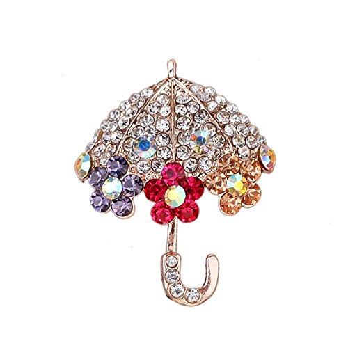 YinMai Rose Gold Plated Umbrella Swarovski Crystal Pin Brooch with Multicolor Rhinestone Flower Brooch