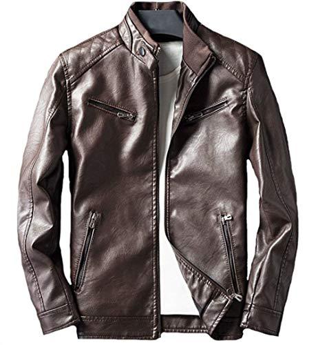 Uomo Da In Modern Biker Invernale Fit Leisure Pelle Vintage Giacca Braun Capispalla Manica Jacket Cappotto Slim Lunga wAtIqqS