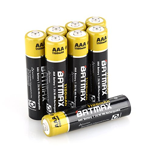Batmax Pack of 8 NiMH 1100mAh AAA Rechargeable Batteries (Case included)