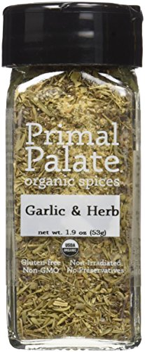 Certified Organic Spice (Primal Palate Organic Spices Garlic & Herb, Certified Organic, 1.9 oz Bottle)