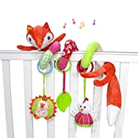 SKK Baby Fox Plush Spiral Activity Toy Stroller and Travel Toy