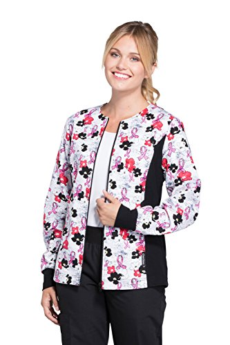- Cherokee Flexibles Women's Zip Front Soft Side Panel Breast Cancer Awareness Print Scrub Jacket XXX-Large Print