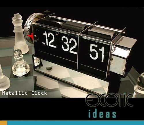 - Retro Digital Auto Flip Page Desk Table Gear Alarm Clock Black