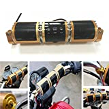 Waterproof Bluetooth Motorcycle Scooter Bike ATV Jet Ski Stereo Sound System Radio Remote Alarm Speaker FM Radio MP3 Player (Gold)