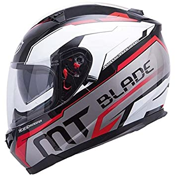 MT BLADE-Casco para moto integral SV SUPER R-Double pantalla, color negro