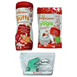 organic soy yogurt - Happy Baby Organic Snacks Bundle - 1 Happy Baby Puffs, 1 Happy Baby Yogurt Snack Bites, 1 Reusable BPA-free Snack Bag, Gluten Free … (Strawberry)