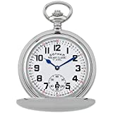 Gotham Men's Silver-Tone Railroad Dial Double Hunter 17 Jewel Mechanical Pocket Watch # GWC18806S