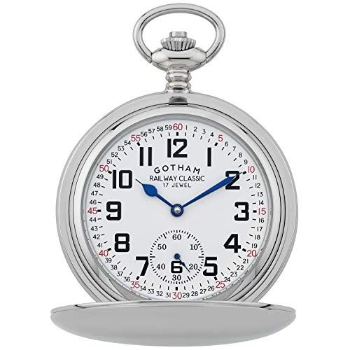(Gotham Men's Silver-Tone Railroad Dial Double Hunter 17 Jewel Mechanical Pocket Watch # GWC18806S)