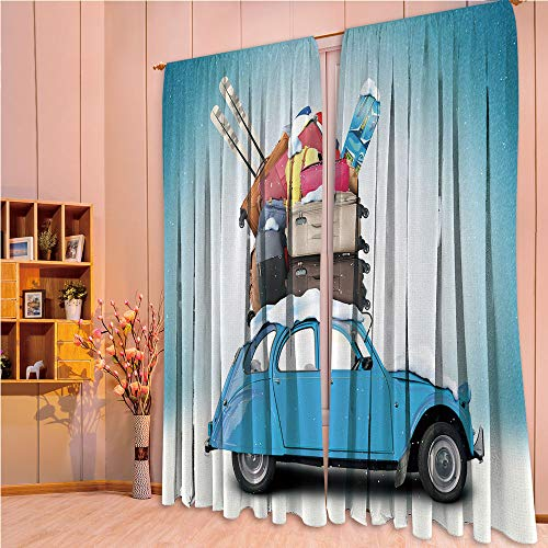 ZHICASSIESOPHIER Print Kids Curtains,Polyester Curtains Panels for Bedroom,Living Room,Image Ski Baggage Items Blue Vintage Car Holiday 108Wx90L Inch ()
