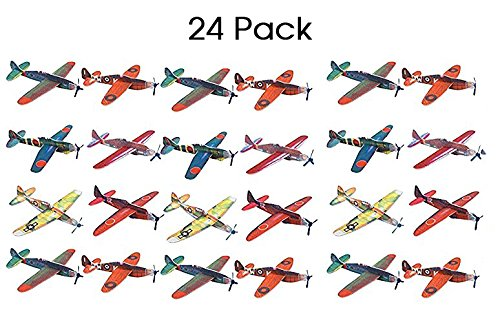 Kidsco Flying Glider Planes - Toy For Party, Kids & All Ages - Hand Launch - Easy Assembly - Styrofoam Assorted, 8 Inch (SET OF 24) - By ()