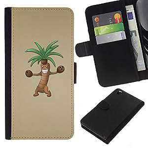 KingStore / Leather Etui en cuir / HTC DESIRE 816 / ?rbol de dibujos animados de Palm Dibujo Animación de Personajes
