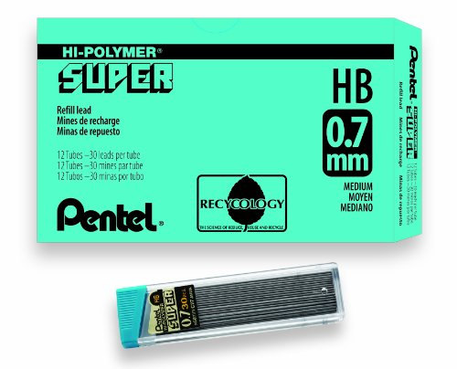 (Pentel Super Hi-Polymer Lead Refill, 0.7mm Medium, HB, 360 Pieces of Lead (C27-HB))