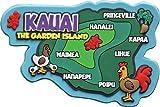 Islander Hawaii Rubber Magnet Kauai Map 3½''W x 2¼''H x ¼D