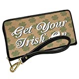 Wallet Clutch Get Your Irish On St. Patrick's Day Shamrock Kraft Pattern with Removable Wristlet Strap Neonblond