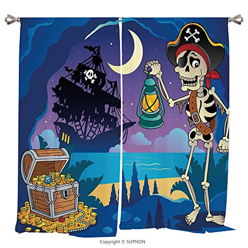 Rod Pocket Curtain Panel Thermal Insulated Blackout Curtains for Bedroom Living Room Dorm Kitchen Cafe/2 Curtain Panels/108 x 84 Inch/Pirate,Found Treasure Chest in Cave Mystery Hideout Pirate with La
