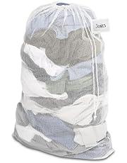 Whitmor Saco de roupa de malha com etiqueta de identificação branca