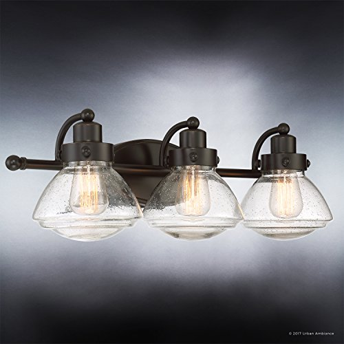 Luxury Transitional Bathroom Vanity Light, Medium Size: 8''H x 25''W, with Rustic Style Elements, Oil Rubbed Parisian Bronze Finish and Seeded Schoolhouse Glass, UQL2652 by Urban Ambiance by Urban Ambiance (Image #2)