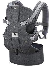 Meinkind Porte-Bébé Ergonomique Multi-Fonctions Ajustable en Pur Coton, pour Bébé de 3,5-15 kg avec Coussin Tête Pliable et Bretelles Souples Respirantes, Double-Ceintures Réglables Confortables, Gris