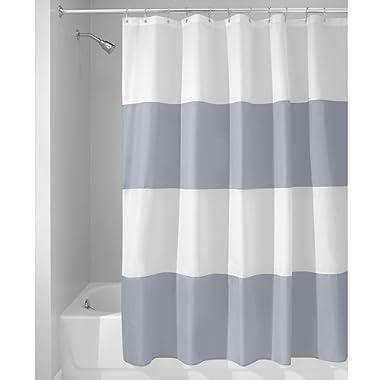 InterDesign Mildew-Free Water-Repellent Zeno Fabric Shower Curtain, 72-Inch by 72-Inch, Gray/White