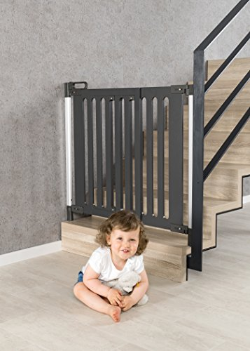 reer Door Grille and Stair gate Trend for screwing, Modern Design, Wood, Stable Hold, Passage Width 76-106 cm.