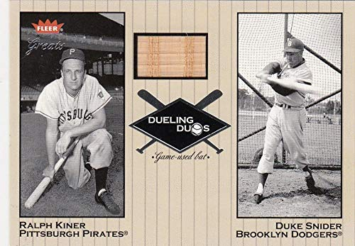 2002 Greats of the Game Dueling Duos Game Used Single #DD-RK1 Ralph Kiner/Duke Snider NM-MT+ MEM Pittsburgh Pirates/Brooklyn Dodgers from Greats of the Game
