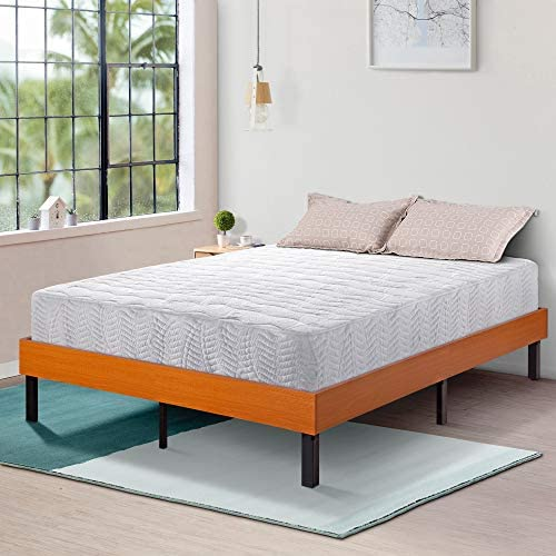 Ecos Living 14 Inch Platform Bed Frame Steel Slat Non-Slip Support Brown, Queen