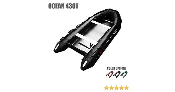 SEAMAX Ocean430T Commercial Grade Inflatable Boat, 14ft  x 6 4ft, 5 Pontoon  Chambers, Aluminum Floor, V Bottom, Max Support 35HP Motor, Coast Guard