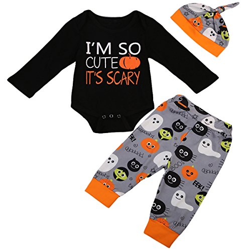 Halloween Baby Unisex Boys Girls Cutest Pumpkin in the Patch Bodysuits Pumpkin Witch Pants Hat Outfits 3pcs Set (6-9 Months, I'm so cute(Black))