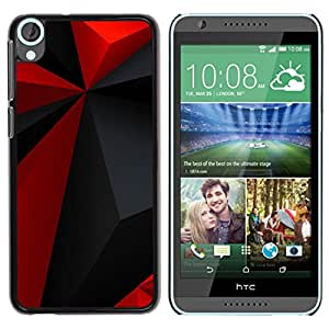 Qstar Arte & diseño plástico duro Fundas Cover Cubre Hard Case Cover para HTC Desire 820 ( Red Polygon Pattern Grey Black Modern)