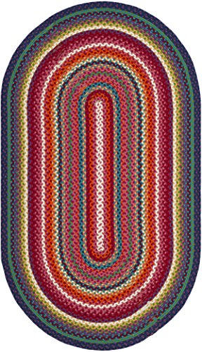 Safavieh Braided Collection BRD316A Handwoven Multicolored Oval Area Rug (3' x (Oval Outdoor Braided Rug)