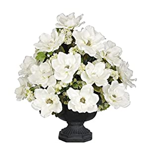 House of Silk Flowers Artificial White Magnolia with Snowball in Black Garden Urn