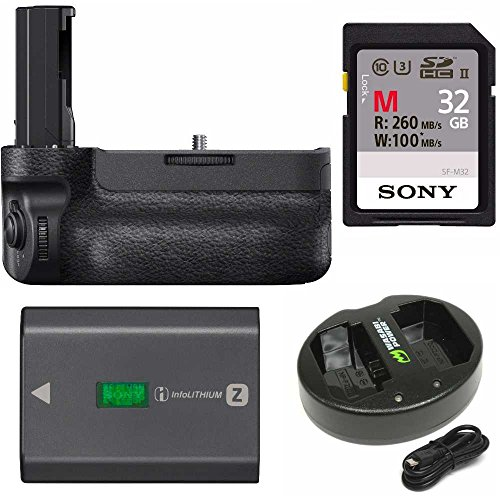 Sony VGC3EM Vertical Grip with Sony NPFZ100 Z-Series Rechargeable Battery Pack, Dual Charger, and SFM32T 32GB R260 Sony SD Card (Grip Sony Vertical)