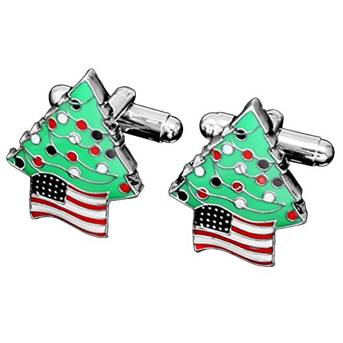 - MGStyle Cufflinks For Men - Christmas Tree American Flag - Green & Red & Silver Tone - Enamel & Alloy with Deluxe Gift Box