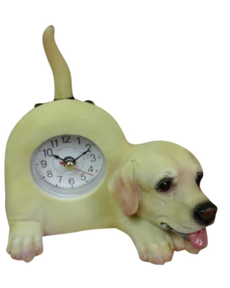 Small Yellow Lab Dog Desk Clock with Wagging Tail
