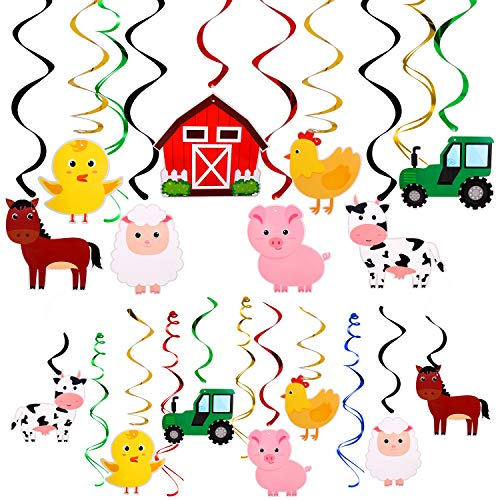 Farm Animal Hanging Swirls Party Ceiling Decorations Barnyard Theme Birthday Baby Shower Decor Event Supplies 30CT ()