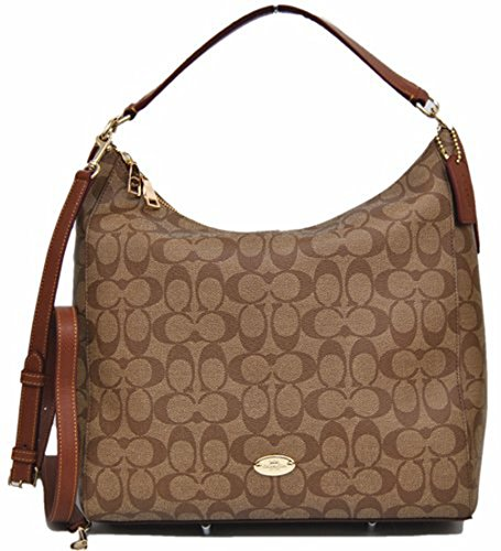 Coach Signature Celeste Convertible Hobo - Khaki/Saddle (Coach Handbags Hobo)