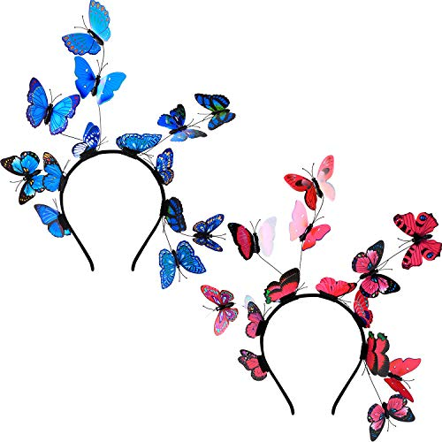 - 2 Pieces 1980s Butterfly Headpiece Festival Crown Headband Butterfly Hairbands for Halloween Wedding