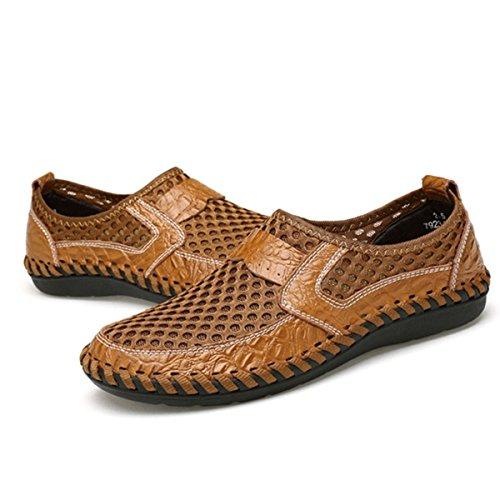 Tezoo Mesh Casual Schuhe, Sommer Männer und Frauen Mesh atmungsaktive Wanderschuhe Loafers, Outdoor Licht wiegen Slip On, Nähte Honeycomb Wandern Schuhe Durable Soft Braun