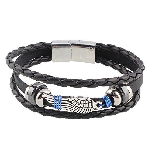 EAGLE Wing Vintage Genuine Leather 3 Strand Unisex Bracelet 8.2″ Alloy Clasp Hematite Stunning Wristband Fashion Cuff for Men Women, Stylish 3-Tier Comfort Fit Band — 60-Day Satisfaction Guarantee