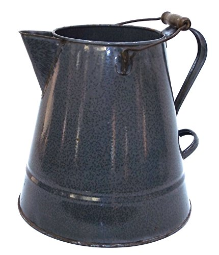 Large Antique Mottled Gray Splatter Enamelware Coffee Pot Graniteware (Large Graniteware)