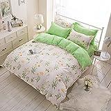 4 Piece Duvet Cover Bed sheet and Pillow Shams Bedding Set,Kids Green Daisy sunflower Flower Patterns Design Microfiber Printed Reversible Design (Full, 4Pcs without comforter06)