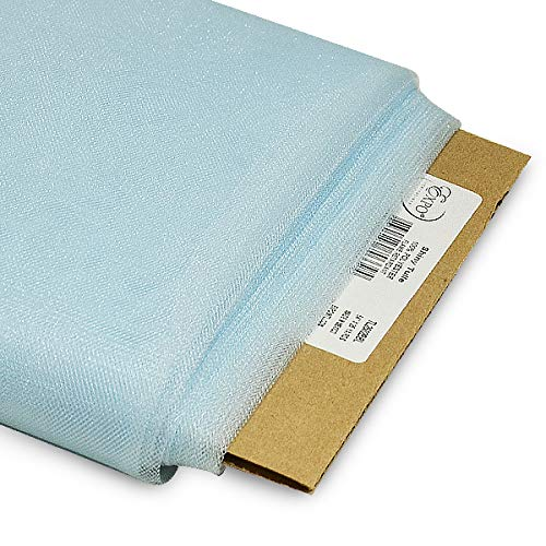 Expo International 54-Inch Shiny Polyester Tulle Fabric, 25-Yard Bolt, Baby Blue