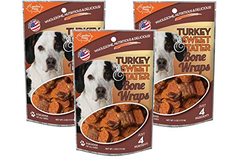(Carolina Prime 3 Pack of Turkey & Sweet 'Tater Bone Wraps Dog Treats, 4 Ounces Each, Made in The USA)