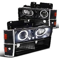 C10 CK Tahoe Silverado Yukon Halo LED Black Projector Headlights+Corner Bumper