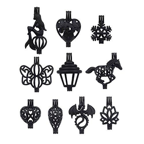 Black Enamel Drop (10pcs Enamel Black Pearl Bead Cage Pendant Perfume Essential Oil Aromatherapy Diffuser Locket Charm Pendant Craft Jewelry Making Necklace Bracelet DIY M50 (Mixed 10pcs))