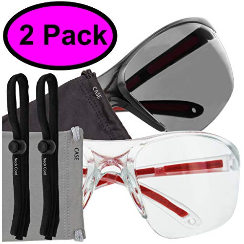 Safety Glasses Eye Protection - Comfort Eyewear - 2 Pair, 2 Neck Cords, 2 Cases - SuperLite and SuperClear Lens Technology, Z87.1 - CE 166 ()