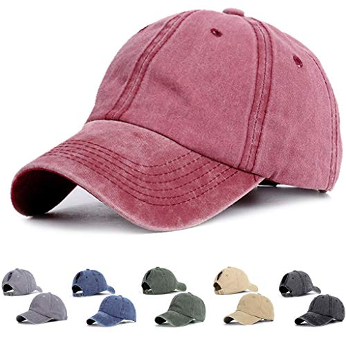 AKIWOS Unisex Baseball Cap, Ponytail Baseball Hats for Women Adjustable Trucker Baseball Cap, Mesh Sun Hat