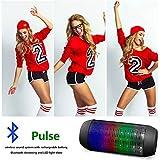 Aberobay 2015 Newest Pulse Portable Mini Wireless Bluetooth Speaker Support NFC 360 LED Lights Show TF Card U-disk Outdoor Speaker-Black