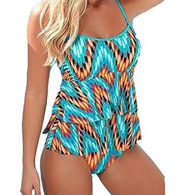 Blugibedramsh Womens Flame Corrugated Tankini One-Piece Swimsuit Monokini